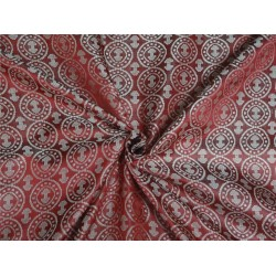 100% PURE SILK BROCADE~WIDTH 44 ~ CHERRY RED X SILVER COLOR BRO454[5]