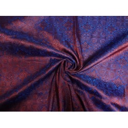 SILK BROCADE VESTMENT FABRIC DARK PURPLE & RED