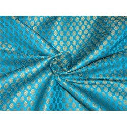 Brocade fabric  aqua blue and metallic gold 44''wide BRO644[3]