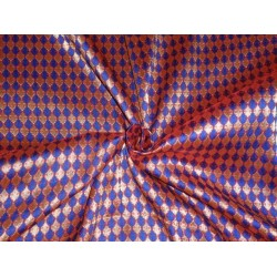 BROCADE FABRIC ROYAL BLUE RED WITH METALLIC GOLD