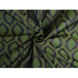 100% PURE SILK BROCADE FABRIC GREEN MAROON AND ROYAL BLUE 44 INCHES