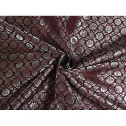 100% PURE SILK BROCADE FABRIC MAROON WITH METALLIC GOLD COLOR