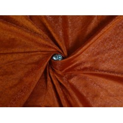 SILK BROCADE FABRIC REDDISH ORANGE 44 INCHES