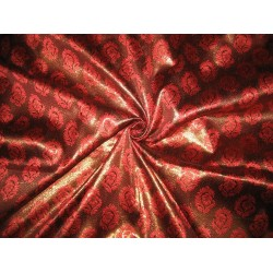 Brocade fabric Metallic Brown & Red Color