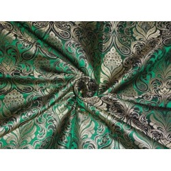 PURE SILK BROCADE FABRIC PARROT GREEN WITH METALLIC GOLD