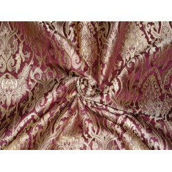 SILK BROCADE FABRIC PURPLE GOLD X METALLIC GOLD COLOR