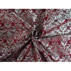 PURE SILK BROCADE FABRIC PURPLE MAROON & ANTIQUE GOLD