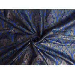 "SILK BROCADE FABRIC ROYAL BLUE GREEN AND COPPER COLOR 44""INCHES"
