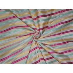 "SILK TAFFETA FABRIC MULTI COLOUR 54"" WITH STRIPES"