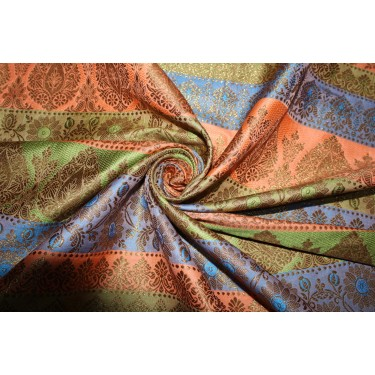 Brocade jacquard Fabric peach,green,blue &metallic gold  BRO678[1]