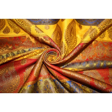Brocade jacquard Fabric red,green,mango,blue,yellow &metallic gold  BRO678[3]
