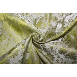"Silk Brocade jacquard Fabric Apple Green color 44""BRO18[2]"