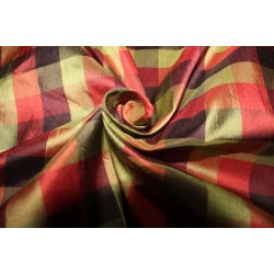 "100% SILK Dupioni FABRIC 54"" wide  MULTI color plaids DUPC110[4]"