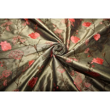 "100% SILK DUPION KHAKI GREEN WITH CORAL FLORAL EMBROIDERY 54""DUPE59[1]"