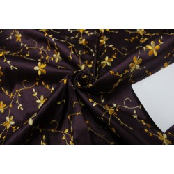 "100% SILK DUPION AUBERGINE  WITH GOLD FLORAL EMBROIDERY 54""DUPE60[2]"