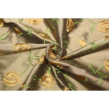 """100% SILK DUPION GOLDEN BROWN  WITH GOLD FLORAL EMBROIDERY 54""""DUPE58[2]"""