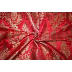 "Brocade jacquard Fabric RED x METALIC  gold color 44"" Bro684[1]"