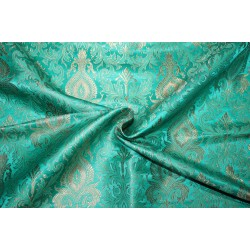 "Brocade jacquard Fabric GREEN  x METALIC gold color 44"" Bro684[2]"
