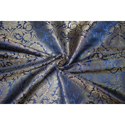 "Brocade jacquard Fabric DUSTY NAVY  x METALIC gold color 44"" Bro684[3]"