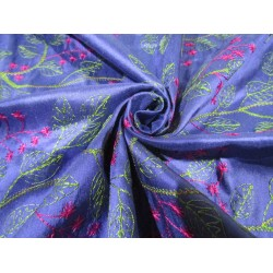 "100% SILK DUPION  Blue  WITH pink  and green  FLORAL EMBROIDERY 54""DUPE60[1]"