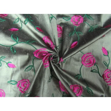 "100% SILK DUPION  black x light  green  pink rose FLORAL EMBROIDERY 54""DUPE58[1]"