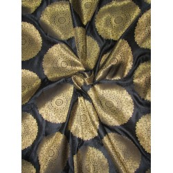 "Brocade jacquard Fabric BLACK x METALIC gold color 44"" Bro683[1]"