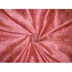 "Brocade fabric Pink x metallic gold color 44"" wide by the yard bro615[3]"