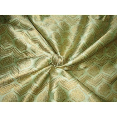 "Brocade fabric Mint green x metallic gold color 60"" wide by the yard bro615[2]"