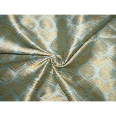 """Brocade fabric Blue x metallic gold color 60"""" wide by the yard bro615[1]"""