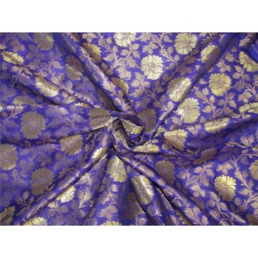Heavy Silk Brocade Fabric Purple x Metallic Gold color 44'' bro614[4]