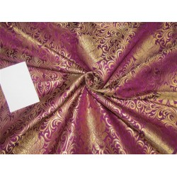 Heavy Silk Brocade Fabric Aubergine x Metallic Gold color 36'' bro614[2]