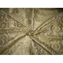 Heavy Silk Brocade Fabric ivory x Metallic Gold color 36'' bro613[5]