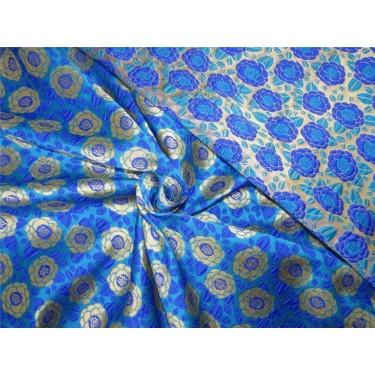"""Reversible Brocade fabric turqoise/royal blue x gold color 46"""" wide bro612[3]"""