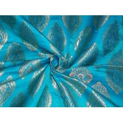 100% Pure SILK BROCADE FABRIC Blue & Metallic GOLD Colour