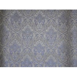 100% Pure SILK BROCADE FABRIC Grey,Ivory & Metallic Blue 44""