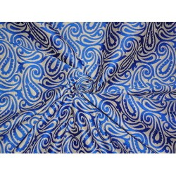 SILK BROCADE FABRIC Cream & Electric BLUE 44""
