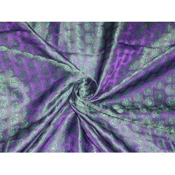 SILK BROCADE FABRIC Purple & Green 44""