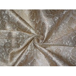 SILK BROCADE FABRIC Cream & Metallic GOLD 44""