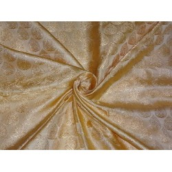 100% Pure SILK BROCADE FABRIC Light GOLD 44""