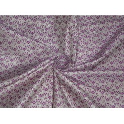 100% PURE SILK BROCADE FABRIC Ivory & Pinkish Purple COLOUR 44""