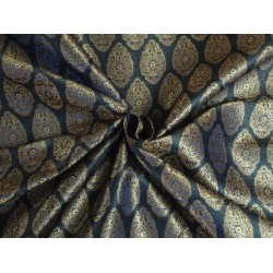 100% PURE SILK BROCADE FABRIC Dark BLUE,Black & METALLIC GOLD COLOUR 44""