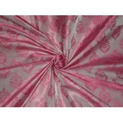 100% Pure SILK BROCADE FABRIC Pink  Colour