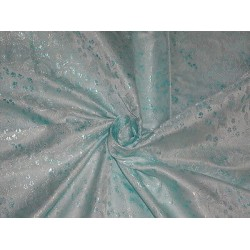 100% PURE SILK BROCADE FABRIC SHADES OF BLUE COLOUR 44""