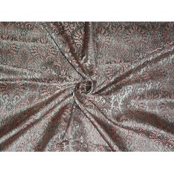 100% PURE SILK BROCADE FABRIC Salmon,Grey & Black COLOUR 44""