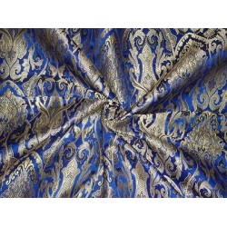 BROCADE FABRIC BLUE,Gold & METALLIC GOLD COLOR 44""