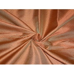 100% PURE SILK BROCADE FABRIC Orange & GOLD COLOUR 44""