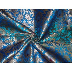 Heavy  BROCADE FABRIC Red,BLUE & METALLIC GOLD COLOUR 36""