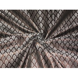 100% PURE SILK BROCADE FABRIC Brown,Grey & Black COLOUR 44""