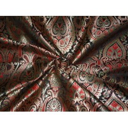 100% PURE SILK BROCADE FABRIC Red,Metallic Gold & Black COLOUR 44""