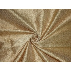 SPUN SILK BROCADE FABRIC light gold paisley